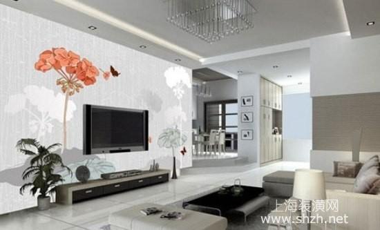 选用紫色的电视背景墙