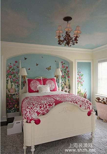 装修学堂 装修设计 局部空间 卧室 正文  如果小公主喜欢蓝天白云