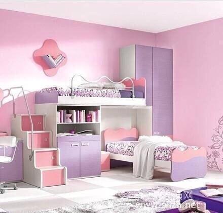 装修地板浅粉色卧室设计效果图