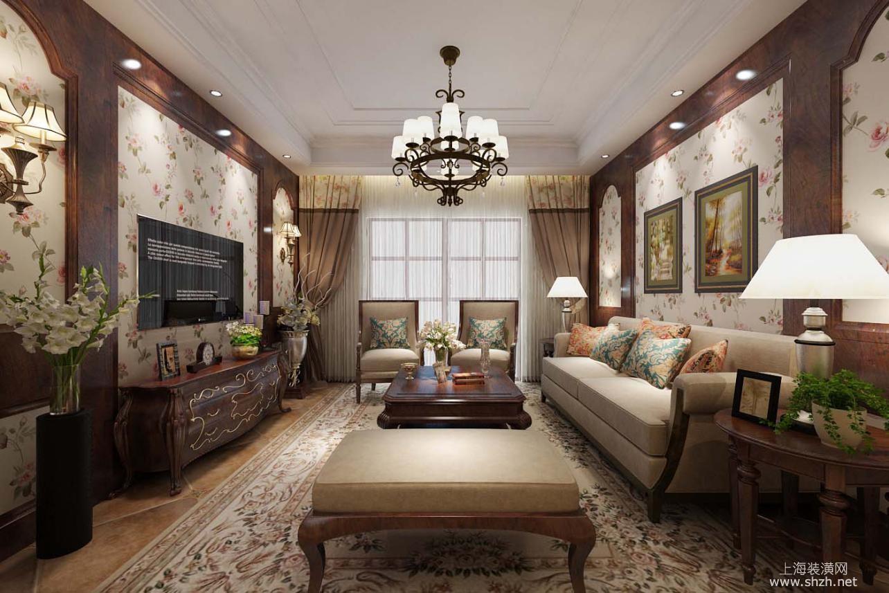 10万装修100平美式田园风格居室 碎花壁纸效果展示