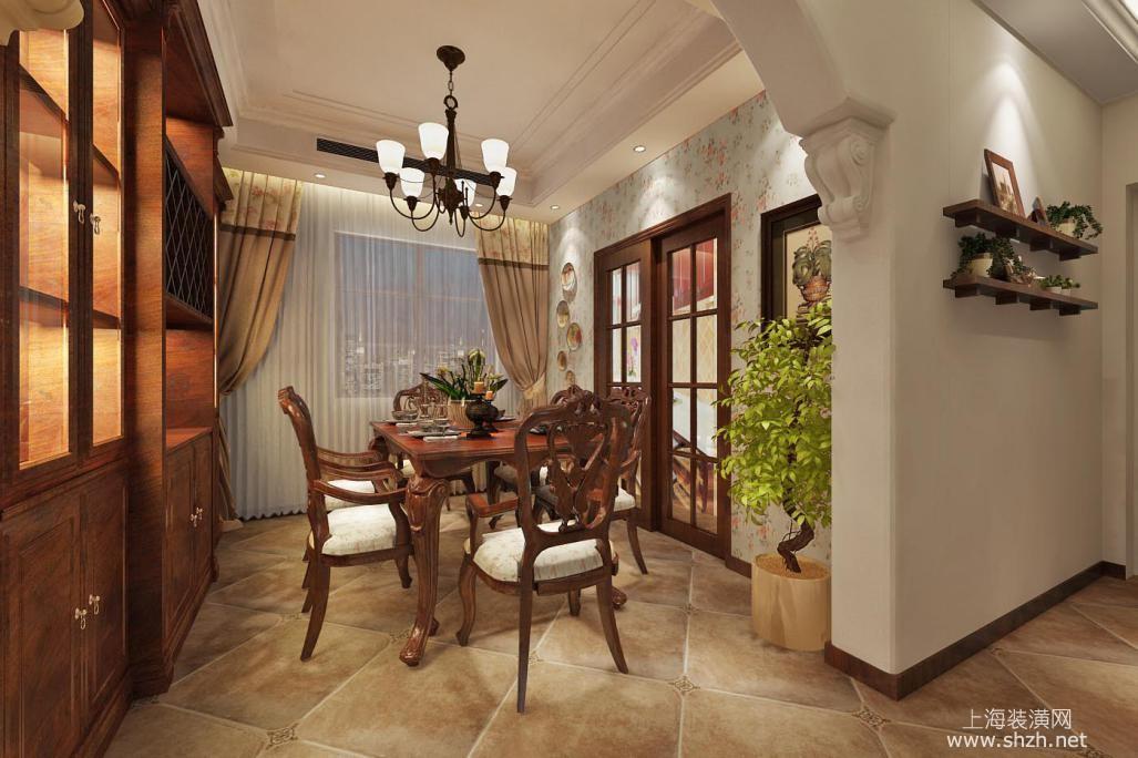 10万装修100平美式田园风格居室 碎花壁纸效果展示高清图片