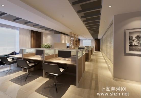 简洁明快的办公室装修讲究轻松环境,局部鲜绿色与地面浅色系地毯装饰