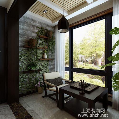 案例效果图——阳台休闲区设计,一个茶几,加上砖砌墙上爬满的绿植,很图片