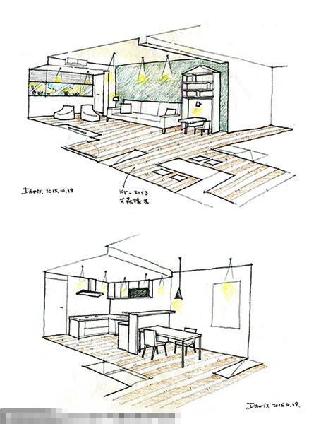 手绘设计图,精确笃定的笔触,将温馨的居家蓝图跃然纸面.