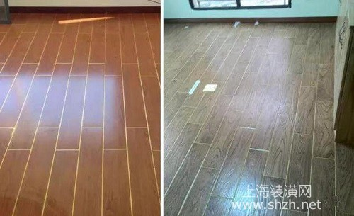 木纹砖像木地板一样,美缝的时候,我们也可以采用通用色金色来美缝,也