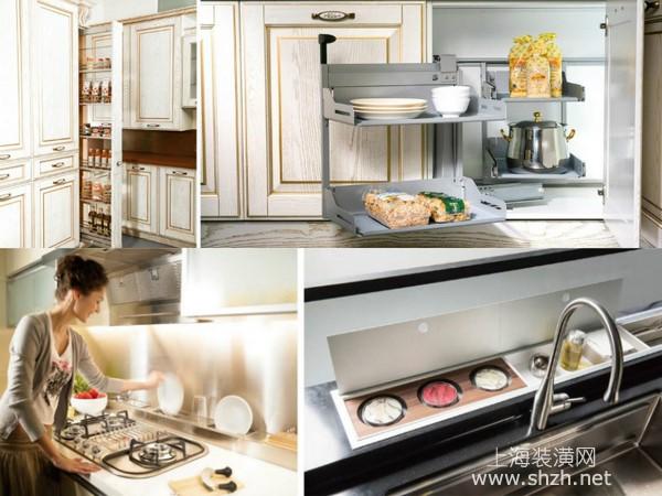 厨房装修设计秘籍四、分门别类,井然有序;善用空间,顺手收纳 厨具收纳通过选用合适的层架、转盘、轨道式干粮收纳高柜等配备,让各式各样的食材、厨具用品,分门别类收藏,不仅有效节省空间,让厨房井然有序,拿取物品时,更为省时、便利。 厨房流理台、炉具前方的畸零空间,经常被忽略,在水槽前方置入调理罐收纳,或在炉具前方配置碗盘沥水架,有效利用畸零空间,达到顺手收纳的目的。甚至连水槽盖板也兼具切菜砧板机能,让人充分感受空间利用的巧妙。巧妙利用炉具前方畸零规画碗盘沥水架,让功能倍增;善用水槽前方的空间,规划日常做饭用调