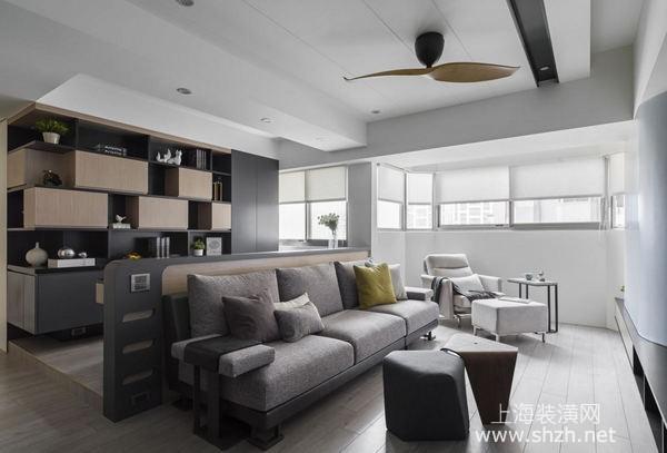 上海老房改造装修案例:90平米房打造强大收纳功能现代宅