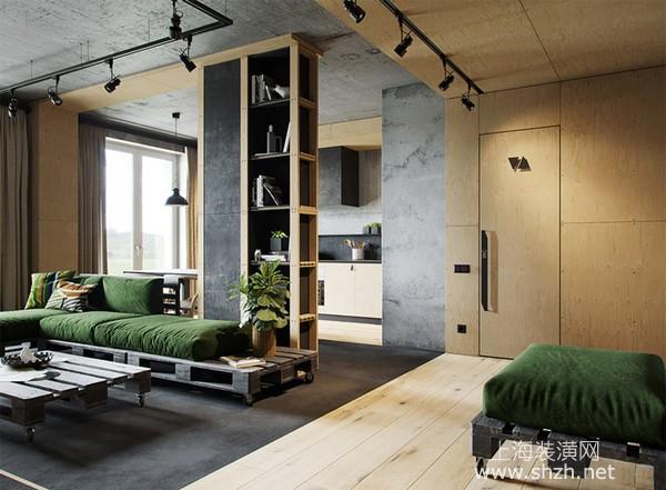 70平米工业风公寓装修设计:耐用不贵的木板打造创意居家空间