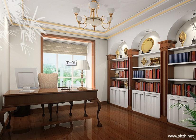 欧式暖色书房效果图