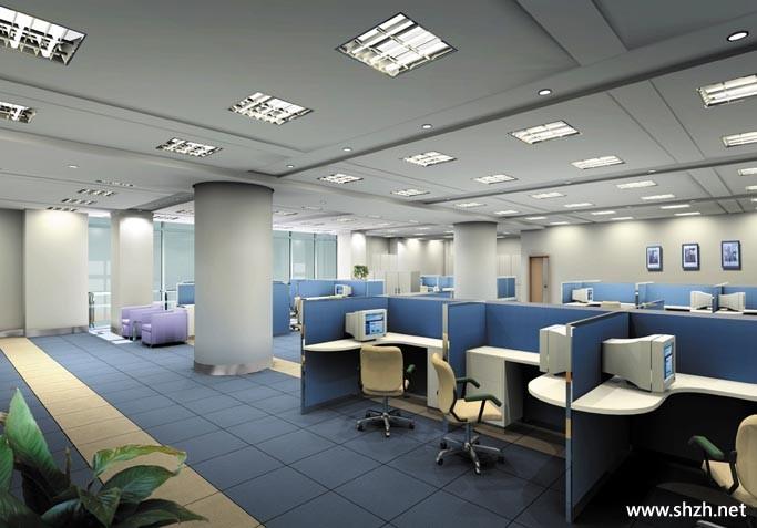 办公室中性色格子间图片