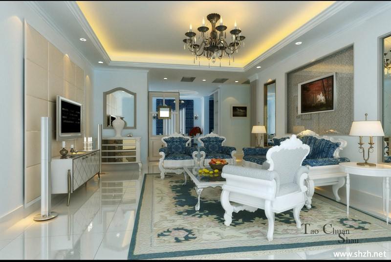 欧式客厅实景图-上海装潢网图片