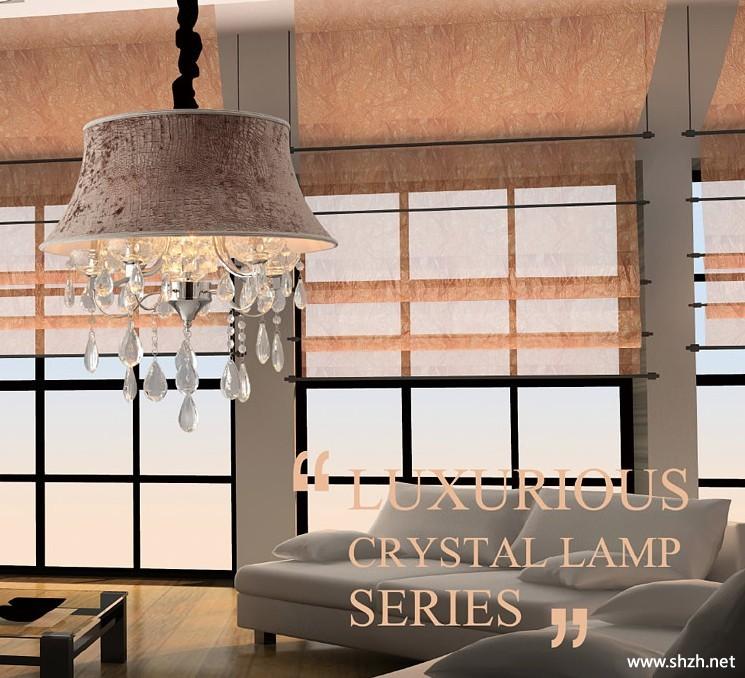 欧式吊灯布艺灯客厅卧室水晶灯灯饰灯具