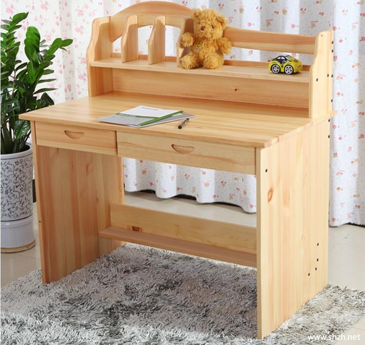 儿童写字台电脑桌实木家具书架