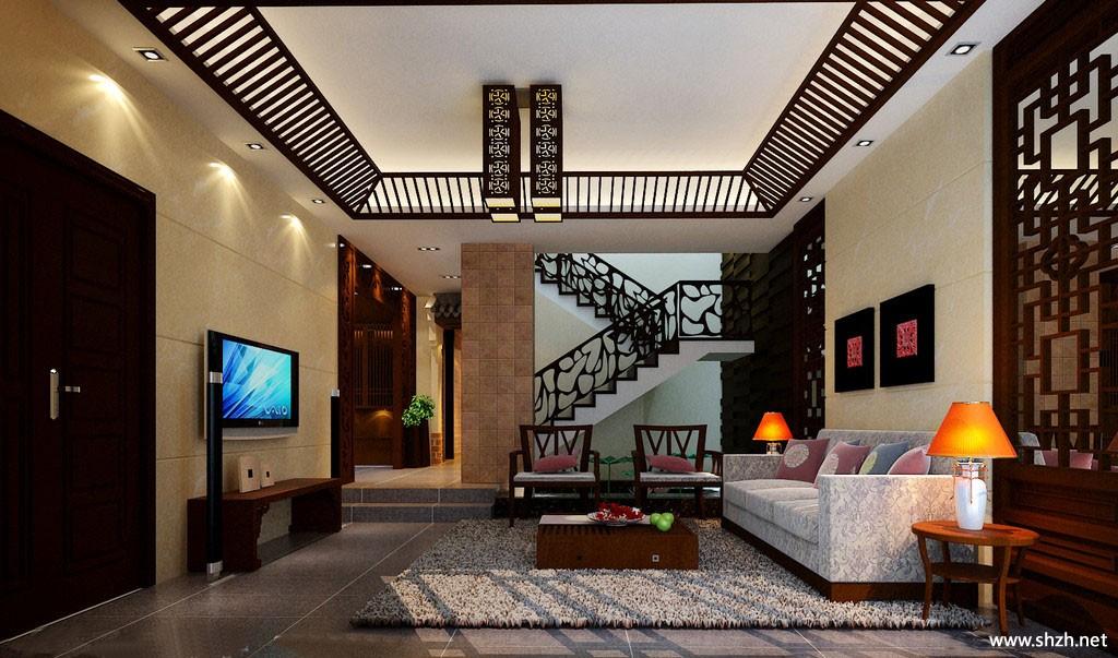 中式别墅楼梯客厅效果图-上海装潢网