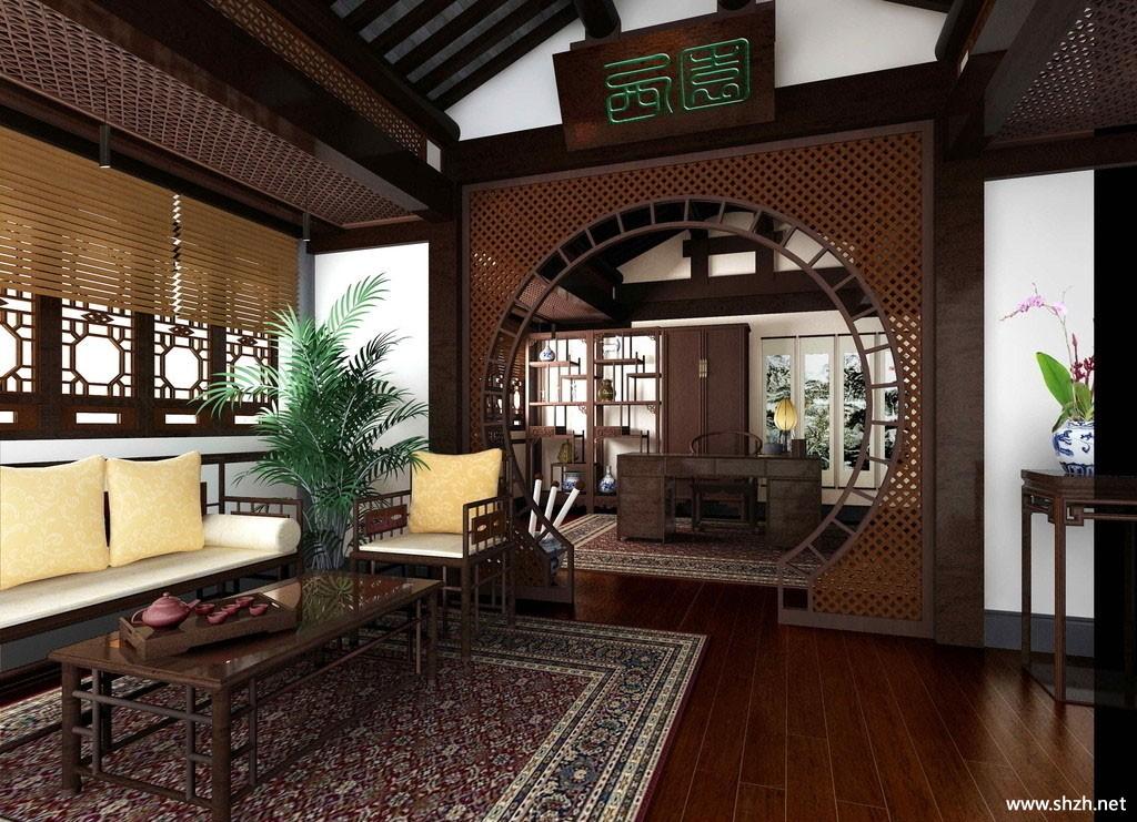 中式古典客厅效果图-上海装潢网