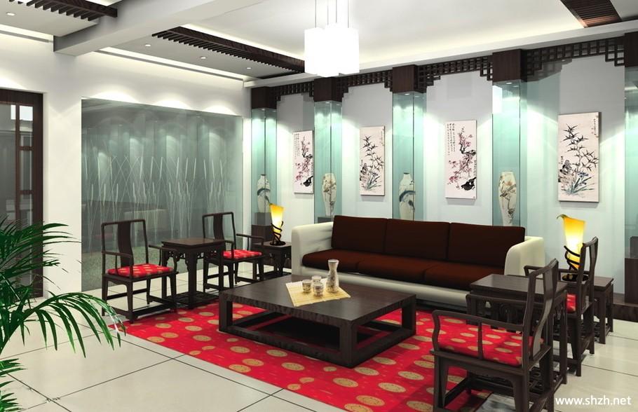 中式會客廳效果圖-上海裝潢網