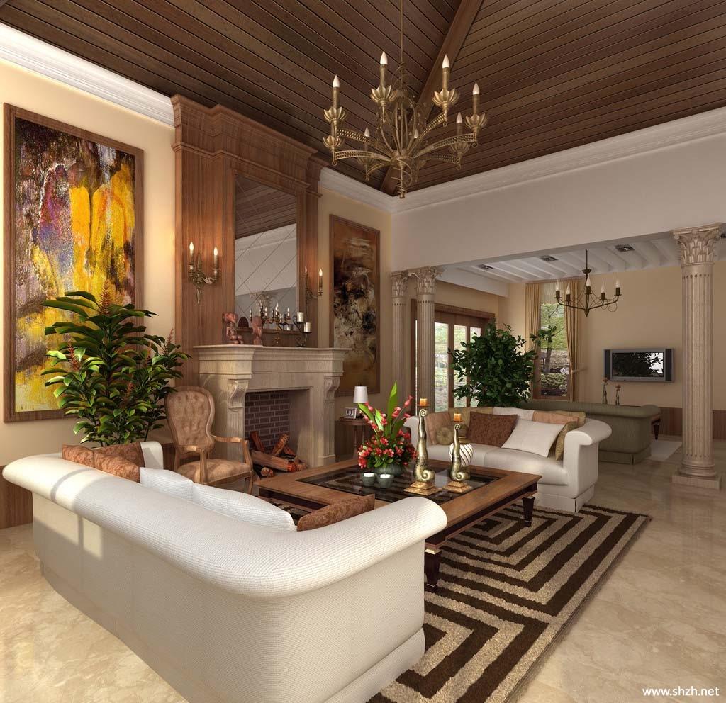 欧式壁炉客厅效果图-上海装潢网