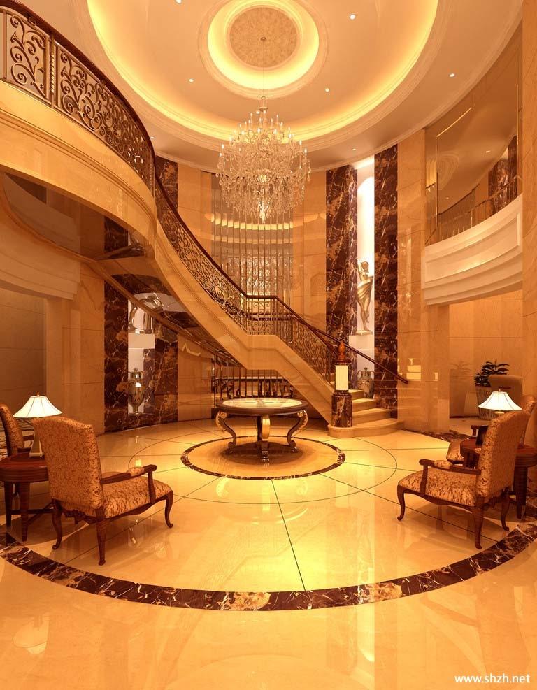 别墅客厅楼梯效果图