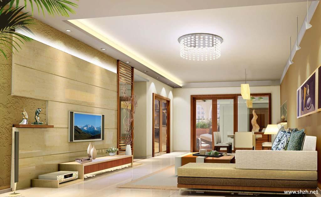 中式简约客厅背景墙效果图-上海装潢网