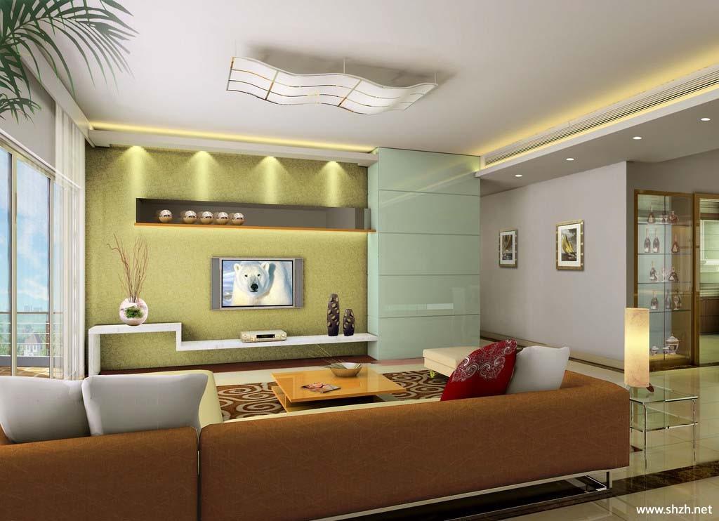 现代背景墙客厅效果图-上海装潢网