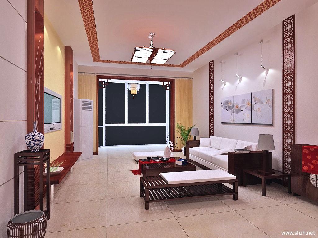 中式风格客厅效果图,中式家装客厅效果图,中式客厅影视墙效果图,高清图片