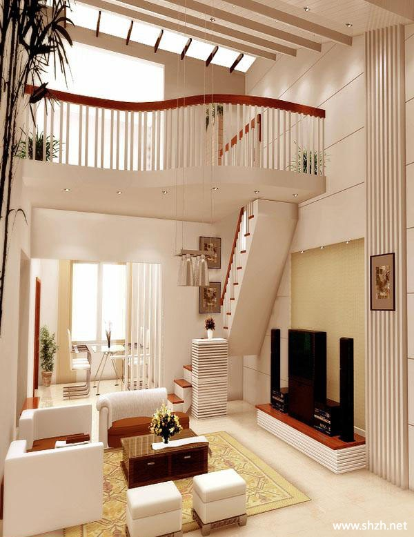 跃层复式客厅效果图图片