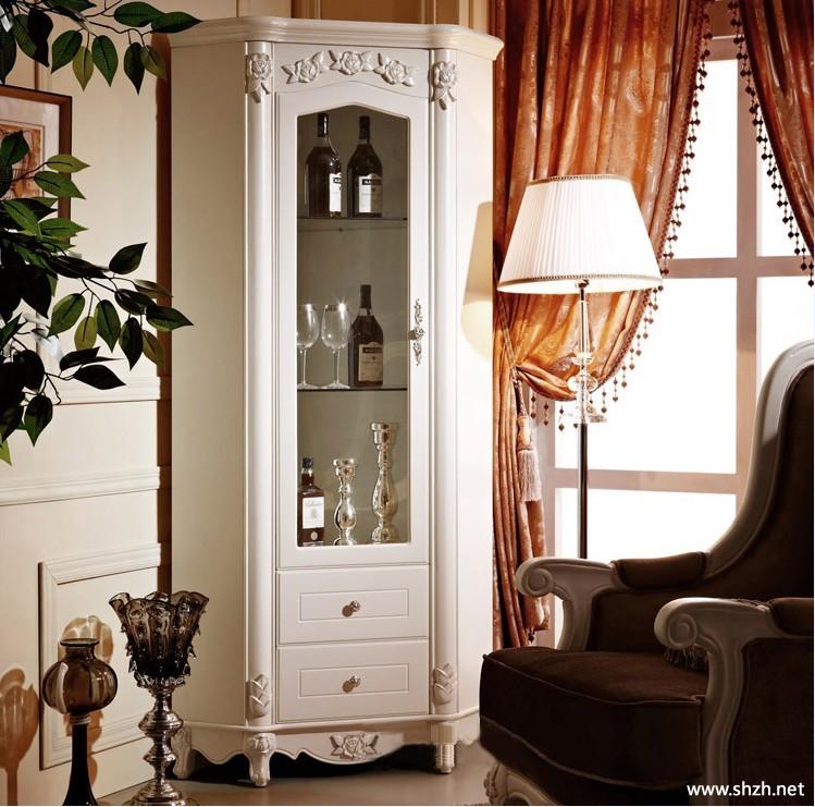 角柜酒柜实木欧式玻璃酒柜白色田园酒柜厅柜