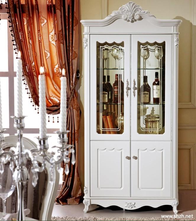 实木欧式玻璃酒柜白色田园酒柜厅柜