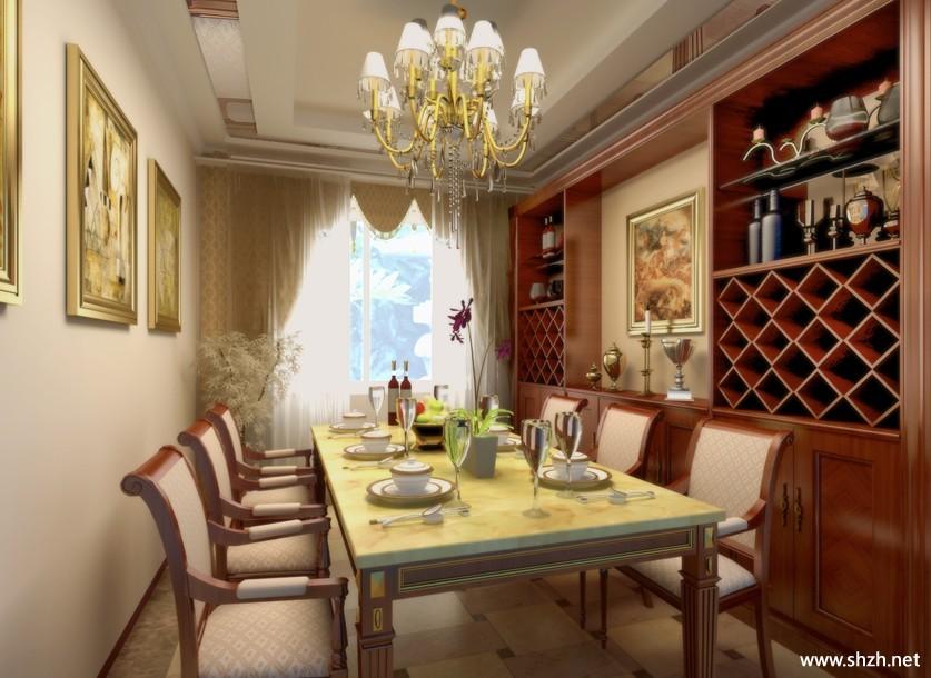 欧式餐厅酒柜效果图-上海装潢网