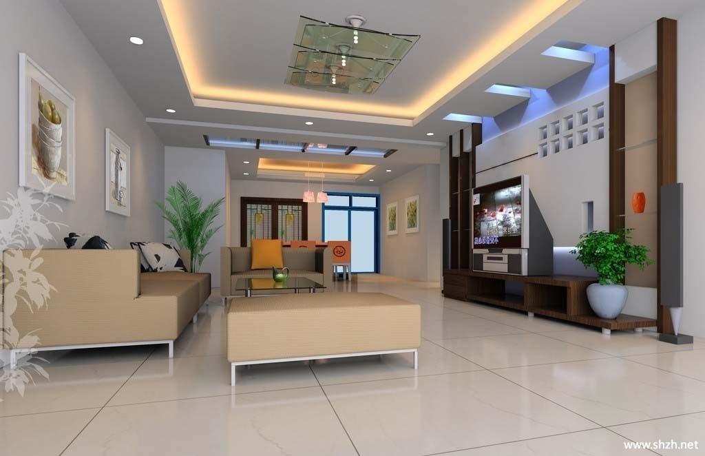 中户型客厅沙发背景墙电视柜-上海装潢网
