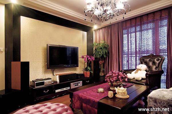豪华欧式客厅电视柜背景墙