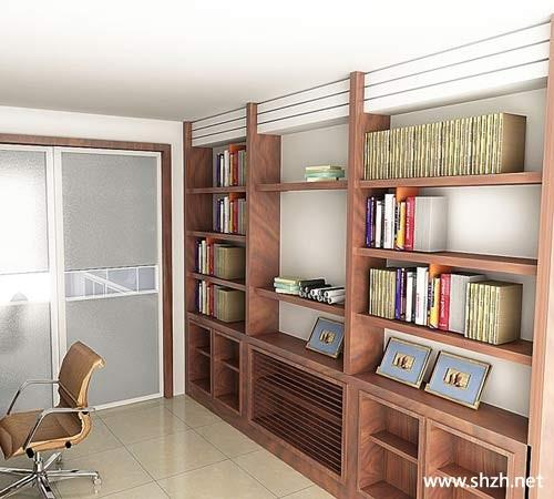 书房书架效果图-上海装潢网