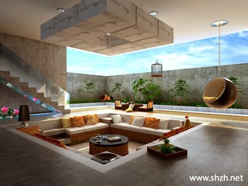 装修图库 别墅  浏览数: 260 客厅大面积的敞开空间,沙发摆放在下沉式图片