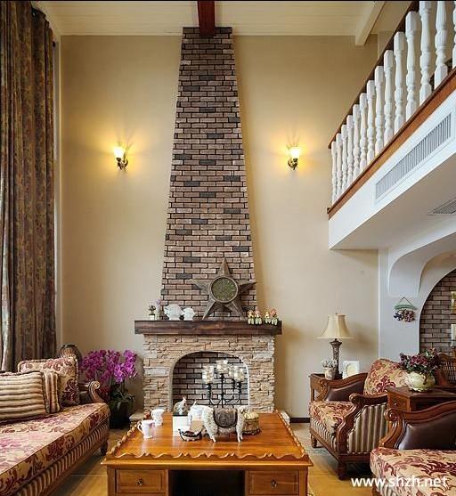 跃层复式客厅壁炉背景墙