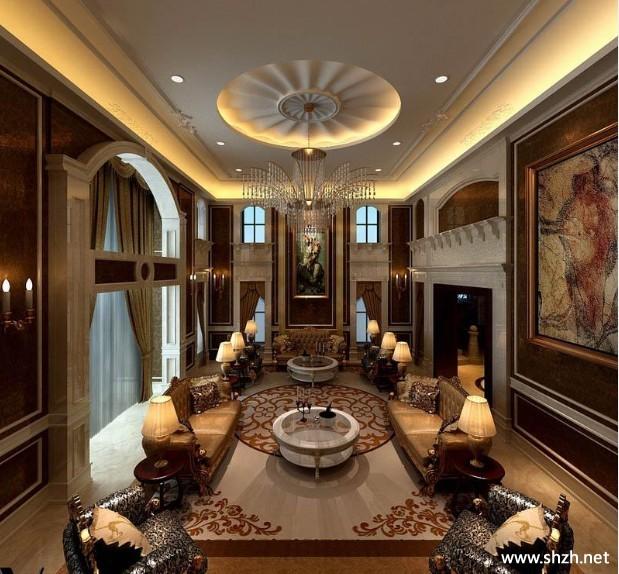 欧式豪华客厅吊顶-上海装潢网