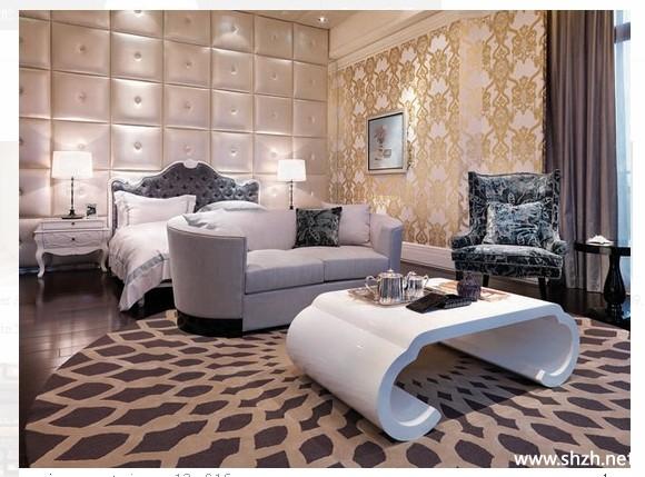 欧式冷色卧室背景墙