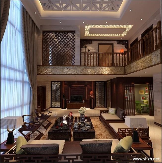 现代大厅效果图_中式风格别墅大厅装修效果图-上海装潢网