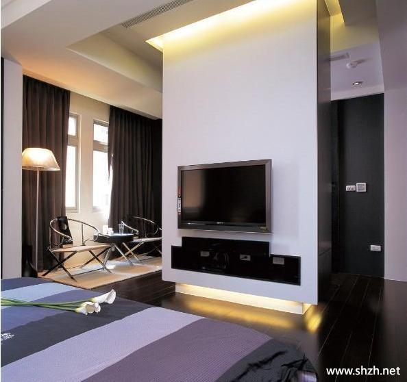 现代风格黑白配家居装饰卧室电视柜背景墙-上海装潢网