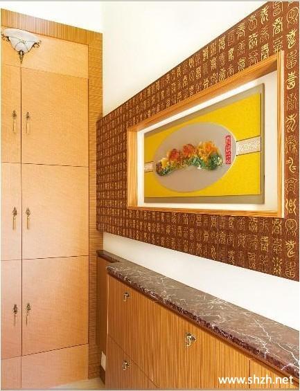 中式玄关过道装饰画背景墙图片