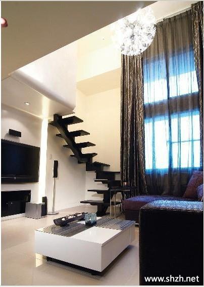 旋轉樓梯 樓梯設計裝修效果圖_裝修效果圖; 小戶型冷色躍層復式樓梯