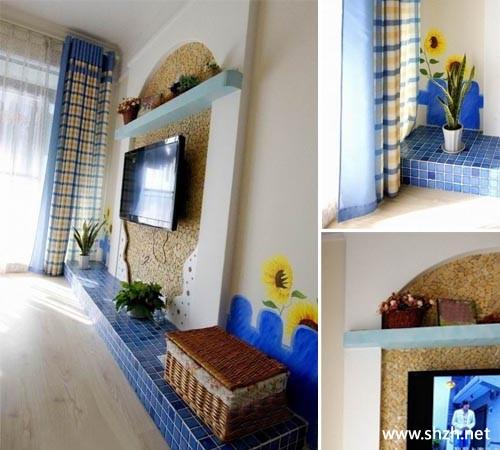 地中海客厅手绘墙