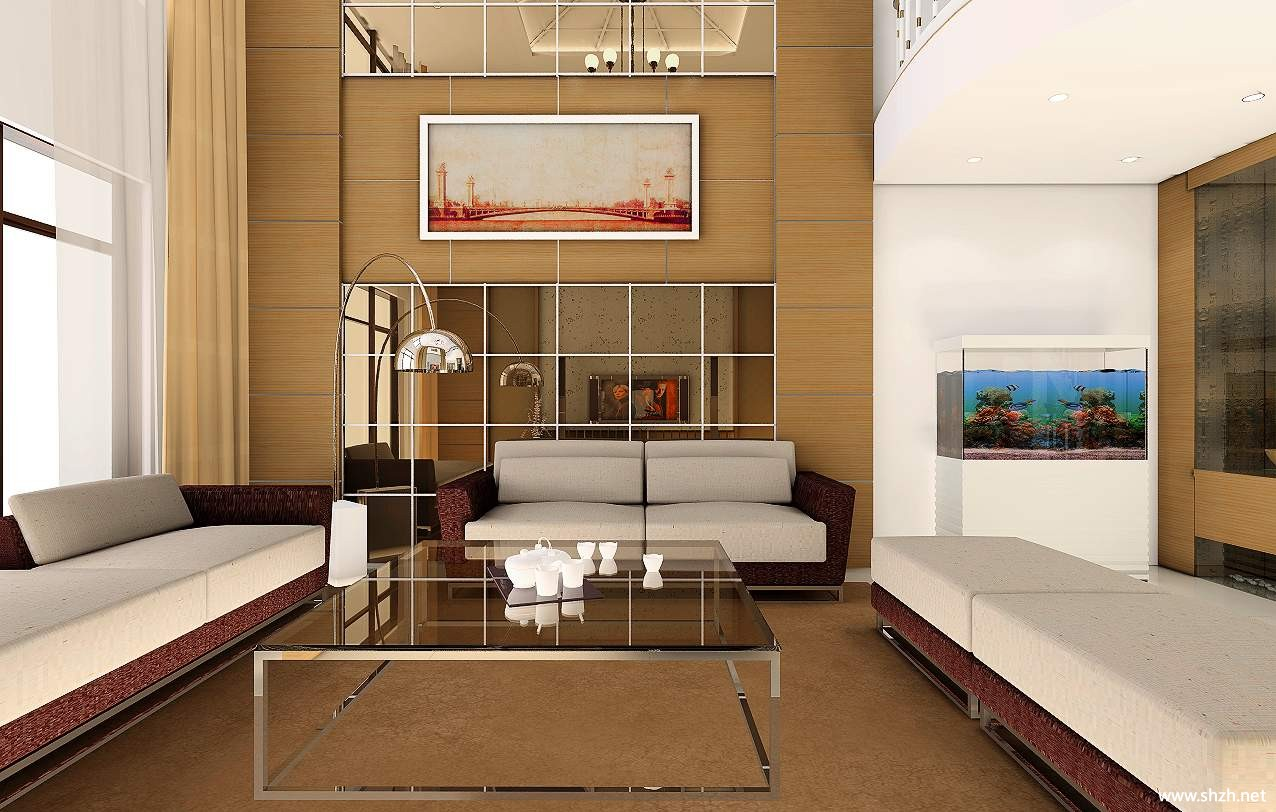 暖色简约现代别墅效果图设计大赏跃层复式客厅效果图