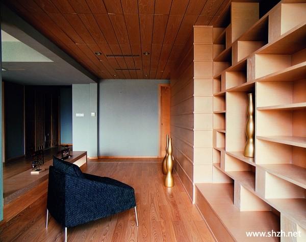 中式客厅背景墙书架
