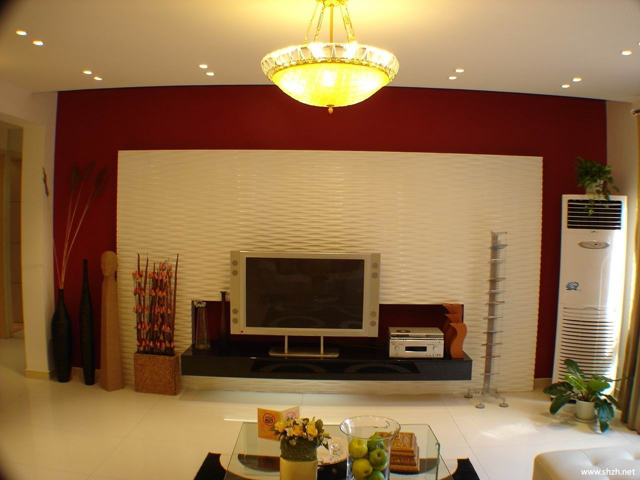 客厅电视柜背景墙-上海装潢网