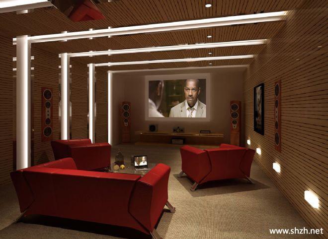 别墅影视厅效果图高清图片