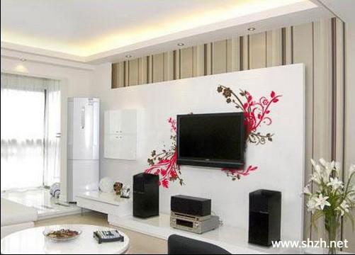现代欧式暖色客厅背景墙效果图