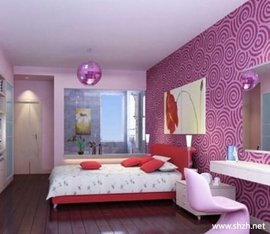 现代简约暖色卧室阳台/飘窗背景墙装饰摆件床小户型效果图