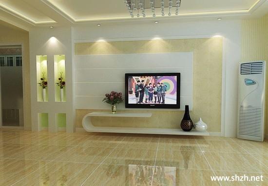 现代简约暖色客厅背景墙家具效果图