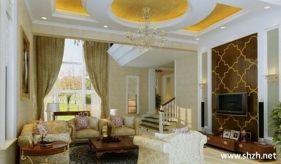 现代简约欧式暖色客厅背景墙装饰画效果图