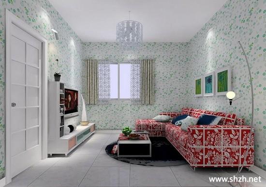 现代简约欧式冷色客厅背景墙沙发效果图
